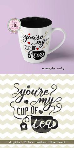 Mijn kopje thee, leuke liefde Valentijnsdag cadeau idee digitale gesneden bestanden, SVG, DXF, studio3 bestanden voor cricut, silhouette cameo, diy vinyl sticker