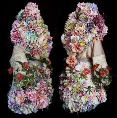 A selection of the costumes and smaller props handmade by British artist Kirsty Mitchell for her photographic collection the 'Wonderland' series 2009 - 2014 Giant Flowers, Silk Flowers, Cut Flowers, Costume Fleur, Kirsty Mitchell, Flower Costume, Wonderland Costumes, Floral Fashion, Dress Fashion