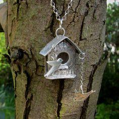 Silver bird house pendant by Linda Rossiter at http://handmadesilverjewellery.tumblr.com