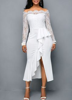 Lace Panel Ruffle Trim Off the Shoulder Dress White Sheath Dress, Lace Midi Dress, Women's Dresses, Dress Red, Dress Black, Lace Wedding Dress With Sleeves, Lace Sleeves, Wedding Dresses, Plus Size Lace Dress