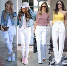 Love the white jeans with white sneakers fashion in 2019 женская мода, стил White Pants Outfit, White Outfits, Cool Outfits, Casual Outfits, White Jeans Outfit Summer, Fashion Outfits, Womens Fashion, White Fashion Sneakers, White Sneakers