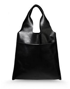 Jil Sander Navy: Black Leather Tote