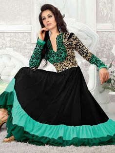 Buy Stylish Fashion Green And Black Anarkali Suit at lowest price
