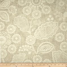 Screen printed on cotton slub duck (slub cloth has a linen appearance); this versatile medium/heavyweight fabric is perfect for window accents (draperies, valances, curtains and swags), accent pillows, duvet covers, upholstery and other home decor accents. Create handbags, tote bags, aprons and more. Colors include ivory and pale taupe.