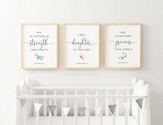 Rose Nursery, Star Nursery, Girl Nursery, Nursery Bible Verses, Printable Bible Verses, Nursery Monogram, Monogram Wall, Nursery Prints, Nursery Wall Art
