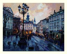 "Original oil painting night city of Lviv, Ukraine, landscape painting, 21.6"" x 27.5"", cityscape, ready to hang, fine art by Valiulina"