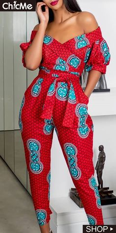 Off Shoulder Puffed Sleeve Print JumpsuitYou can find African fashion and more on our website.Off Shoulder Puffed Sleeve Print Jumpsuit African Maxi Dresses, African Fashion Ankara, Latest African Fashion Dresses, African Dresses For Women, African Print Fashion, African Attire, Africa Fashion, African Prints, African Style