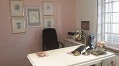 Our spa designers office. Pink, white, black and gold. A great place to design, plan and be inspired.