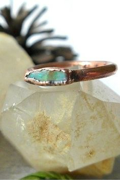 Rough Opal Ring  Australian Opal Ring  Raw by PinealVisionJewelry