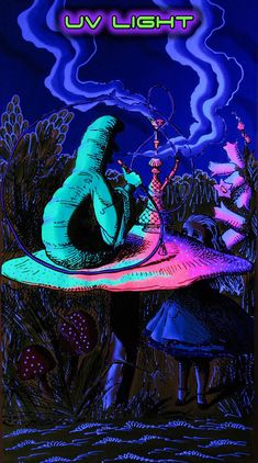 Psychedelic Tapestry, 'Alice in Wonderland'. UV reactive Trippy wall-hanging, Trippy wall art, Shrooms, Psychedelic Art, Blacklight reactive