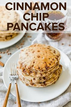 These Cinnamon Chip Pancakes are easily THE BEST homemade pancakes you'll ever eat! #saltandbaker #pancakes #homemadepancakes #breakfastrecipes #pancakerecipe #buttermilkpancakes  via @saltandbaker