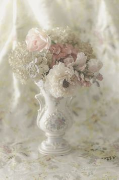 Soft, delicate and feminine pink flowers in a vase.