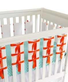 Take a look at this White & Orange Ventilated Slat Bumper - Set of 20 by Oliver B on @zulily today!