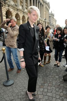 Kate Lanphear was androgynous-chic in a black pantsuit and studded heels during the Balenciaga fashion show.