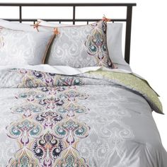 Boho Boutique™ Suvi Brocade Reversible Comforter Set. I would prob put it on the opposite side