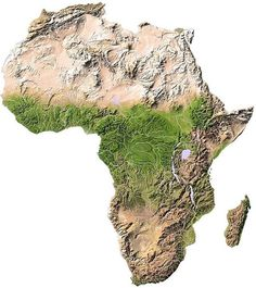 @amapaday Topographic map of Africa. ➖ The average elevation of the continent approximates closely to 600 m (2,000 ft) above sea level, roughly near to the mean elevation of both North and South America, but considerably less than that of Asia, 950 m (3,120 ft). In contrast with other continents, it is marked by the comparatively small area of either very high or very low ground, lands under 180 m (590 ft) occupying an unusually small part of the surface; while not only are the highest...