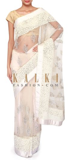 Cream saree adorn in kundan and thread embroidery only on Kalki Indian Outfits, Indian Clothes, Buy Sarees Online, Kurti, Lace Skirt, Pure Products, Embroidery, Silk, Saris