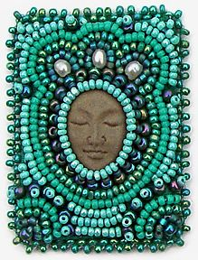 Serenity, miniature beaded embroidery by Robin Atkins,