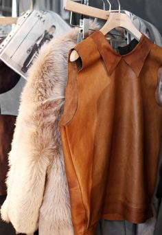 leather beauty   Fall Outfit Inspiration   Fur Vest   Fashion Trend   Ways to Wear   Style Fur   OOTD   Fur Jacket   Fur Coat   Street Style