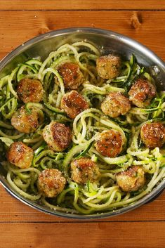 These Zoodle Recipes Make the Most Satisfying Low-Carb Meals Garlic Butter Meatballs with Zoodles Best Zoodle Recipe, Zoodle Recipes, Spiralizer Recipes, Meat Recipes, Healthy Dinner Recipes, Low Carb Recipes, Chicken Recipes, Cooking Recipes, Pasta Recipes