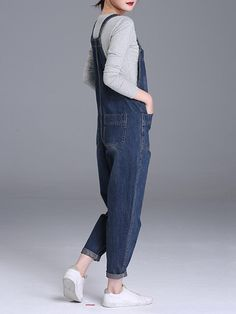 S-6XL Casual Women Denim Pockets Playsuit - Banggood Mobile Stylish Outfits For Women Over 50, Clothes For Women, Dungarees Outfits, Plus Size Jumpsuit, Playsuits, Mono Casual, Plus Size Fashion, Summer Outfits, Sport