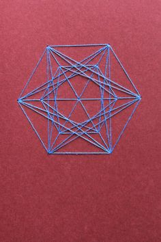 Double-Triple Triangle Notebook Vertical - Sacred Geometry : Red with Light-Blue Thread by TheInfiniteThread on Etsy