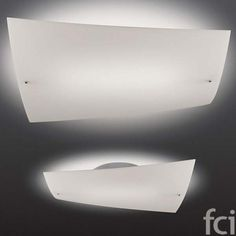 Contemporary flush ceiling lamp with a minimalist design that was inspired by a sheet of paper being stretched. Featuring a blown acid-etched glass diffuser which is curved with the corners bent slightly towards the ceiling. Lamp Design, Lighting Design, Lighting Ideas, Room Lights, Wall Lights, Glass Ceiling Lights, Ceiling Lamps, Ceiling Lighting, Acid Etched Glass