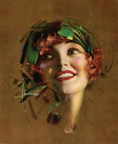 "Featuring a floating head blue eyed modernist pin-up flapper girl vixen by Rolf Armstrong, titled ""Peaches"". Rolf Armstrong, Alphonse Mucha, Vintage Posters, Vintage Art, Portraits, Pin Up Art, Art Deco Design, Oeuvre D'art, Pin Up Girls"
