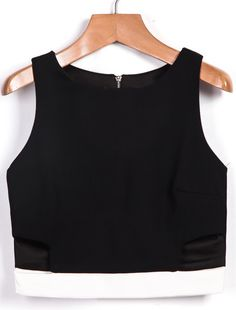 Black Sleeveless Skinny Crop Vest