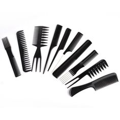 Mayitr 10pcs Professional Salon Hair Combs Black Anti-static Heat-Resistant Hair Styling Comb Set For Salon Styling Tools