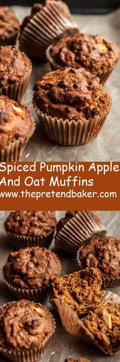 Recipe for Spiced Pumpkin Apple and Oat Muffins. Soft, tender and full of pumpkin flavor. Great for breakfast or dessert!