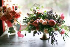 coral and navy seasonal centerpiece