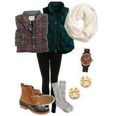 black leggings, plaid button down, green vest white infinity scarf, duck boots