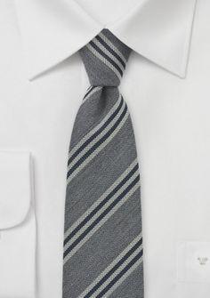 Krawatte Woll-Struktur silbergrau Streifen