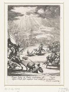 Jacques Callot | Bekering van Paulus, Jacques Callot, 1621 - 1635 | Te midden van een menigte soldaten, geschrokken van een groot licht en een stem uit de hemel, ligt Paulus op de grond. Een man komt hem te hulp gesneld, een ander houdt zijn paard in bedwang. Op de voorgrond links een ruiter met vaandel. Onder de voorstelling een onderschrift in Latijn.