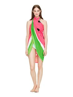 expansive enough to serve as a swimsuit cover-up, but light enough to be knotted around your neck or even looped around your waist like a sash, this watermelon silk-cotton pareo is a summer must-have.