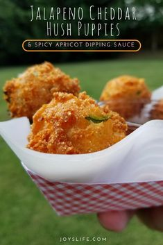 Jalapeno Cheddar Hush Puppies & Spicy Apricot Dipping Sauce Get your deep fry on with these Jalapeno Cheddar Hush Puppies AND try them with this Spicy Apricot Dipping Sauce! Recipes included in the post! Jalapeno Recipes, Fish Recipes, Seafood Recipes, Appetizer Recipes, Mexican Food Recipes, Meat Appetizers, Hush Puppy Recipe With Corn, Jalapeno Cheddar Cornbread, Deserts