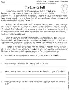 This is an informational reading passage about the Liberty Bell with comprehension questions. Includes answer key.
