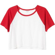 Monki Marbel top (€6) ❤ liked on Polyvore featuring tops, t-shirts, shirts, crop tops, color block t shirt, shirts & tops, colorblock shirt, crop tee and american crop top