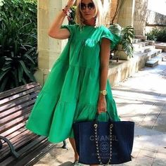 Solid Paneled Frill Sleeves Pockets Holiday Pleated Midi Dress – chiclinen Print Linen Cotton Organic nature Fabric hand made linen dress linen dresses midi dress casual Green Midi Dress, Pleated Midi Dress, Midi Dresses, Linen Dresses, Fashion Mode, Look Fashion, Womens Fashion, Mode Kimono, Swing Dress