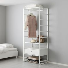 Treat yourself with ELVARLI Shelf unit, white. ELVARLI storage system adapts to your space. The open solution with durable bamboo shelves creates an attractive display of your belongings. Ikea Elvarli, Open Wardrobe, Wardrobe Storage, Bamboo Shelf, Honeycomb Paper, Painted Drawers, Ikea Family, Plastic Drawers, 54 Kg