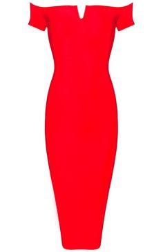 Dream it Wear it - Bardot Notch Front Midi Bandage Dress Red, 113,95€ (http://www.dreamitwearit.com/bandage-dresses/bardot-notch-front-midi-bandage-dress-red/)
