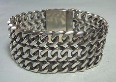 """Heavy Mexican Silver Bracelet 82 grams 7""""  wearable length 1"""" wide"""