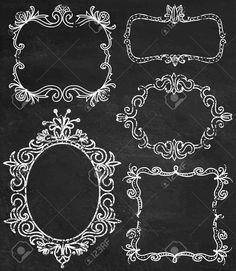 Set of chalk ornamental detailed hand drawn frames illustrations. - Set Of Chalk Ornamental Detailed Hand Drawn Frames Illustrations … - Chalkboard Drawings, Chalkboard Doodles, Chalkboard Art, Blackboard Paint, Drawn Frames, Family Photo Frames, Chalkboard Background, Chalkboard Wedding, Window Art