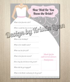 How Well Do You Know The Bride Game sold on Etsy! Only $6 and this one doesn't use a lot of ink!
