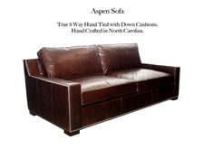 Aspen Leather Sofa by Casco Bay Furniture. Leather Furniture, Leather Sofa, Casco Bay, Aspen, Living Room Furniture, Cushions, Couch, Collection, Ideas