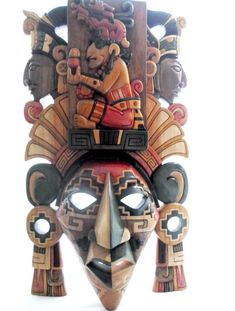 Made To Order Mayan God Itzamna Design Mayan Mask Wood Carving African Masks, African Art, Mexican Gods, Aztec Weapons, Mayan Mask, Native American Masks, Aztec Culture, Inka, Paper Mask