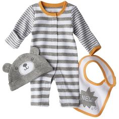 Circo Newborn Jumpsuit, Hat and Bib Set - Gray Preemie (655 RUB) ❤ liked on Polyvore featuring baby