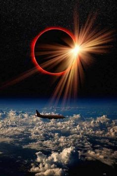 A pilot clicked this photo of solar eclipse when his plane was crossing the Atlantic ocean. One can see another plane on same flight path. Wallpaper Earth, Planets Wallpaper, Wallpaper Space, Galaxy Wallpaper, Beautiful Nature Wallpaper, Beautiful Moon, Beautiful Landscapes, Beautiful Space, Moon Photography