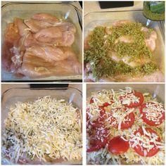 Chicken breast, Basil Pesto, mozzarella cheesecake and tomatoes!!! 400F 40 minutes
